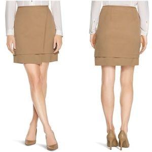 White House Black Market Camel Layered Mini Skirt